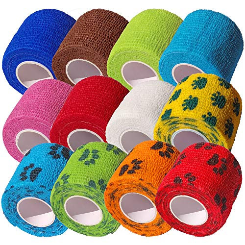 CK-Shop® 12er Pack Selbstklebender Verband für Haustiere, Kohäsive Fixierbinde, elastischer Fixierverband, Haftbandage - 5 cm x 4.5m [12er Pack] (Shop Hund)