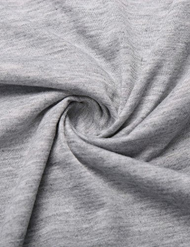 ZEARO Damen Casual Langarmshirt Bluse Hemd Oberteil Top T-shirt mit Muster Grau