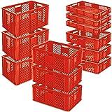 12x Stapelkorb/Bäckerkisten in 4 Größen, Grundmaß LxB 600 x 400 mm, H 90 mm, 150 mm, 240 mm, 320 mm, Farbe rot