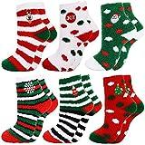 Fascigirl 6 Paare Weihnachtssocken Damen Kuschelsocken Weihnachten Socken Lustige Winter Warme Bettsocken Adventkalender Socken Christmas