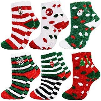Bageek Calcetines de Navidad, 6 Pares Calcetines de Navidad Unisex Calcetines de Santa Fluffy Calcetines de Invierno para Adultos
