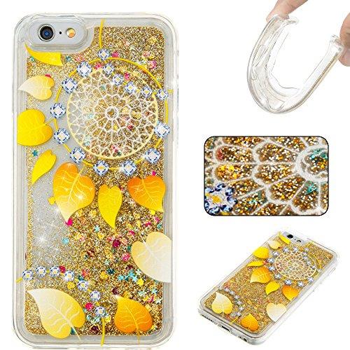 MOONCASE iPhone 6S Coque, Glitter Sparkle Bling Liquide Transparent Étui Coque pour iPhone 6 / 6S (4.7 inch) Soft TPU Gel Souple Case Housse de Protection (Love flower Pattern) Golden leaves