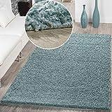 Moderner Hochflor Teppich Shaggy Einfarbig Dicht Gewebt Qualität Pastell Türkis, Größe:70x140 cm