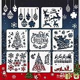 EMAGEREN 8 Stück Weihnachts schablonen Kunststoff Weihnachts schablonen Zeichnung Malerei Schablonen Grafiken Schablonen Schneeflocken Schablone Skala Vorlage Set für DIY Weihnachtsdekoration