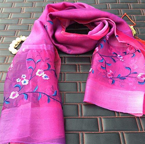 HSDMF sciarpe di seta ricamate delle scialle anti-sole delle signore delle Scarf di seta 100% Quattro stagioni , Rose purple Rose purple