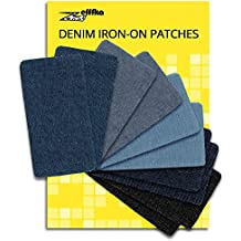 Zefffka Mezclilla Hierro En Parches Termoadhesivos Denim Jeans Algodón Pantalones Vaqueros Tonos De Azul Negro 10 Piezas Juego de reparación 7,4 cm x 4 cm