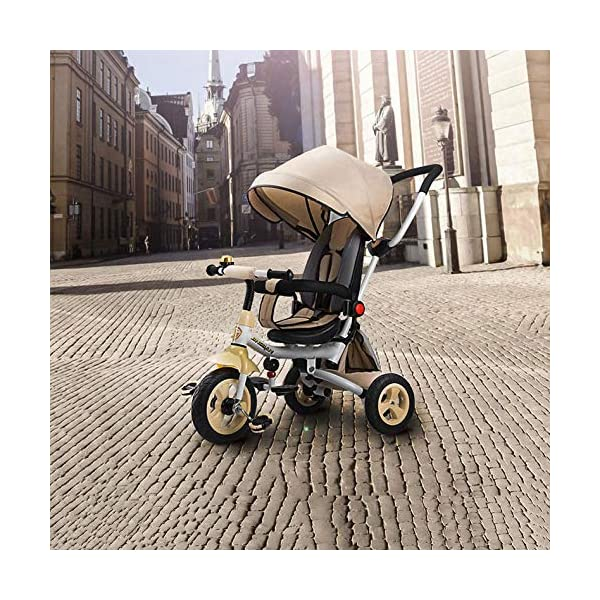 4 In 1 Childrens Folding Tricycle 12 Months To 6 Years 360° Swivelling Saddle Children's Pedal Tricycle Folding Sun Canopy 3-Point Safety Belt Kids' Trikes Maximum Weight 25 Kg,Brown  ★Material: High carbon steel frame, suitable for children from 12 months to 6 years old, the maximum weight is 25 kg ★ 4 in 1 multi-function: can be converted into a stroller and a tricycle. Remove the hand putter and awning, and the guardrail as a tricycle. ★Safety design: Golden triangle structure, safe and stable; front wheel clutch, will not hit the baby's foot; 3 point seat belt + guardrail; rear wheel double brake 1