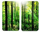 Wenko 2521469500 Herdabdeckplatte Universal Wald 2er Set, für alle Herdarten, 30 x 1.8-4.5 x 52 cm, mehrfarbig, Gehärtetes Glas