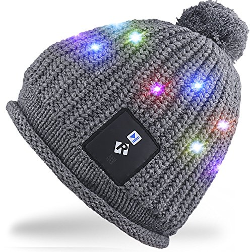Rotibox LED String Light Up Beanie Hat Knit Cap with Copper Wire Colorful Lights 4 feet 18 LEDs for Men Women Indoor and Outdoor, Festival, Holiday, Celebration, Parties, Bar, Gray (Up Light Hat)