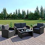 New Algarve Rattan Wicker Weave Garden Furniture Patio Conservatory Sofa Set, INCLUDES OUTDOOR PROTECTIVE COVER (Black/Dark Cushions)