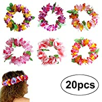 BigLion Hawaiian Headband Leis Ruffled Luau Tropical Flowers Head Garlands for Hawaii Beach Theme Party Favors 20pcs