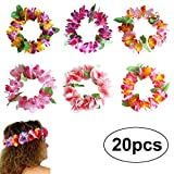 BigLion Hawaiian Stirnband Hibiscus Blumen Ruffled Leis Stirnband Girlande für Luau Beach Party Dance Gefälligkeiten Kostüm Frauen 20pcs