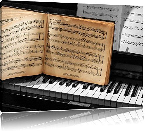 antikes-Notenbuch-auf-Piano-schwarzwei-Format-100x70-auf-Leinwand-XXL-riesige-Bilder-fertig-gerahmt-mit-Keilrahmen-Kunstdruck-auf-Wandbild-mit-Rahmen-gnstiger-als-Gemlde-oder-lbild-kein-Poster-oder-Pl