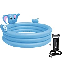 MDN Kid's Plastic Inflatable Elephant Spray Water Family Swimming Pool with Inflation Pump (Blue)