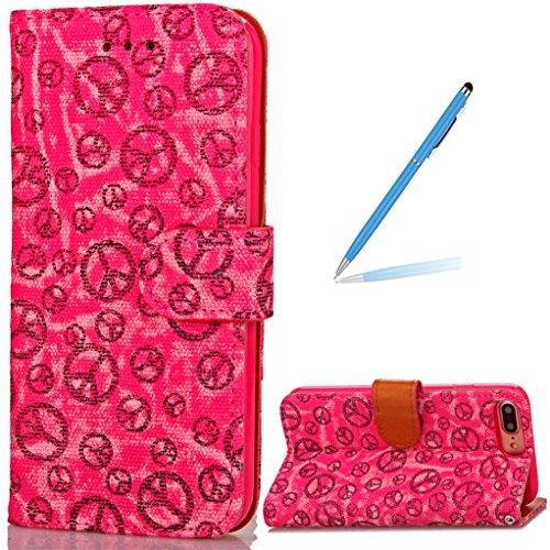 """Trumpshop Smartphone Case Coque Housse Etui de Protection pour Apple iPhone 7 Plus 5.5"""" (Cercle Modèle) + Rose + Ultra Mince Smarphonetcoque Portefeuille PU Cuir Avec Fonction Support Anti-Choc Anti-R Rouge"""