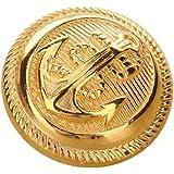 Set di 12 bottoni dorati con motivo con ancora e codolo, stile vintage e sportivo, per giacche, Oro, 21 mm