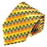 Lorenzo Cana - Marken Krawatte aus 100% Seide - Kariert gelb blau orange bunt Karo Muster - 84543