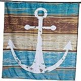 ammybeddings Duschvorhang Antischimmel Waschbar Wasserdicht Blau und weiß Anker Polyester Shower Curtain Badewannenvorhang 180cm x 180cm