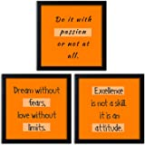Home Attire Synthetic Quotations Framed Wall Poster, Black, 50.8 x50.8 x3.81 cm