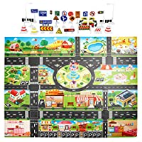 Kids City Road Buildings Parking Map Game Scene Map Play Mat With Traffic Sign Play MatKids City Road Buildings Parking Map Game Scene Map With Traffic Sign