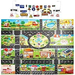 GreatFunKids Play Mat City Road Buildings Parcheggio Mappa di Gioco Mappa del Gioco con segnali stradali Giocattoli educativi - Impara e divertiti (Inglese)