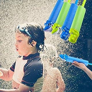 AIMADO 4pcs Wasserpistole, 33cm Wassergewehr Hai und Krokodil aus Schaum und Kunststoff, Sommer Kinderspielzeug für Strand Pool Garten