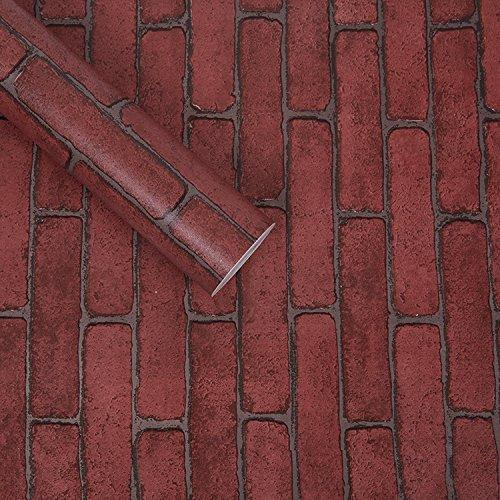 REAGONE Licht Home Blick auf der koreanischen Version Der Selbstklebende Tapete Hintergrund Männer eine große Menge von zerbrochenen Fliesen und frischen Schlafzimmer Imitation Wood-Grain Aufkleber, und Farbe 10 m-rotem Backstein, groß 788182