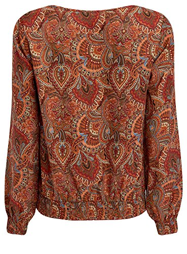oodji Collection Femme Blouse Imprimée à Encolure Ronde Rouge (4959E)