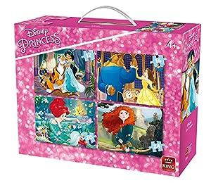 King Disney 4in1 Puzzle - Rompecabezas (Puzzle Rompecabezas, Dibujos, Niños, Disney, Princesses, Chica)