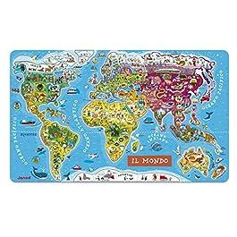 Janod- Puzzle Magnetico Carta del Mondo in Legno, Planisfero Murale con 92 Pezzi Calamitati, Version