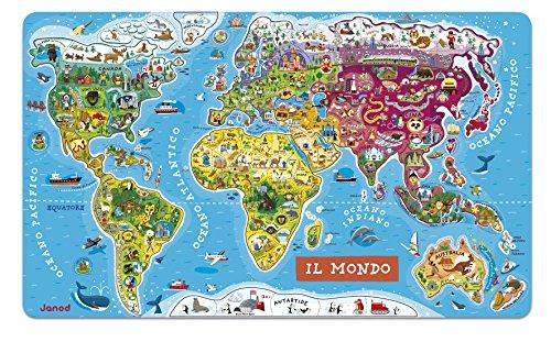 Janod Puzzle magnético del Mundo de madera 92 piezas, Version en Italiano (J05513)