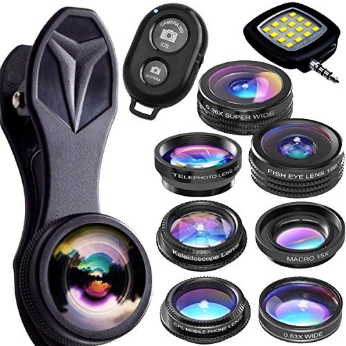 Galleria fotografica Lenti Per Iphone Kit 9 in 1 -Lens Of Horus- Le Uniche Lenti Che Rendono Le Tue Foto EXTRA-ordinarie! Fish Eye Grand Angolo Zoom per Iphone X, Iphone 8 Plus, 7, Iphone 7 Plus, 6s & Lenti per Samsung Android Lg Huawei (Lenti Per Smartphone - Lenti Per Tablet - Lenti per Pc-Portatile)