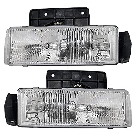 Driver and Passenger Composite Headlights Headlamps Replacement for Chevrolet GMC Van 16524091 16518494 by AUTOANDART