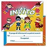 Set di 12 inviti compleanno Biglietti invito per festa compleanno Per Bambini e Adulti in Italiano - Piccoli Supereroi