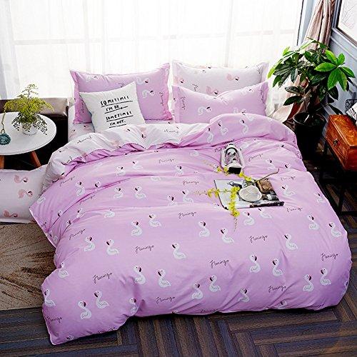 Baumwolle Queen-size Bettbezug (Bettwäsche Set Flamingo Muster Polyester-Baumwolle Bettbezug-Set Einzelbett Doppelbett King Size (Rosa, 220x240cm))