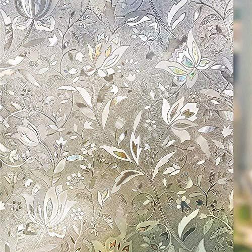 HOUSEHOLD Bereift Dekorative Privatleben-Fenster Filme No Kleber Selbst Static Cling Anti-UV Removable for Badezimmer Wohnzimmer Schlafzimmer Küche Office Home (60 x 254 cm)