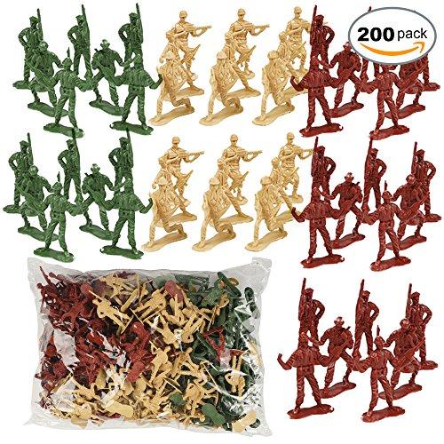 THE TWIDDLERS 200 Mini Soldados de Juguete de plástico en 6 Diseños Variados - 3 Colores Distintos - Ideal para Niños del ejército y Juegos de Guerra