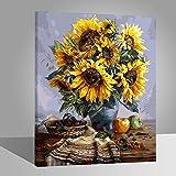Rihe Holzrahmen?Malen nach Zahlen DIY Ölgemälde Sonnenblumen auf Tatble Leinwand drucken Wandkunst Haus Dekoration