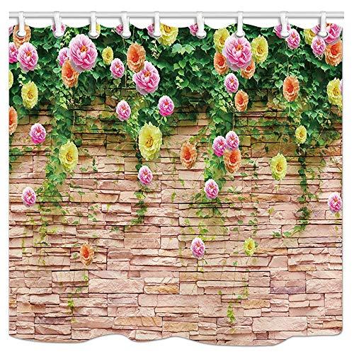 AdaCrazy Rosmarin Blume auf Granit Tapete Duschvorhang 3D-Druck Wasserdicht beschichtetes Polyestergewebe Bad mit 12 Haken 71 Zoll -
