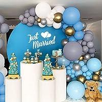 Guirlande Ballon Décoration de Mariage,142 Pièces Ballons Gris Blanc Bleu,Ballon en Latex et Ballon Métallique pour la…
