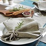 Linen & Cotton 4 x Luxus Stoffservietten VITUS, 100% Leinen - 43 x 43cm (Streifen/ Natur/ Grau )