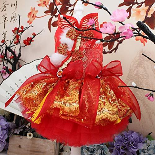 Haustier-Kleidung, Herbst und Winter Plus Samt Festliche Katzen und Hunde Tang-Kleid Cheongsam Pfau Bestickt Rock, Art und Weise süßes Weihnachten, Feiertags-Prinzessin-Kleid,XL -