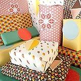 Bright Stem Papel de regalo doblado (6) Hojas y etiquetas Patrón geométrico Paquete mixto