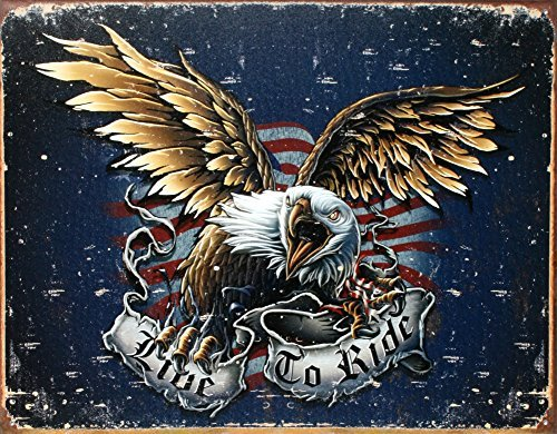 Ride Eagle (Tin Sign Live to Ride-Eagle, 16x 12by Poster Discount)