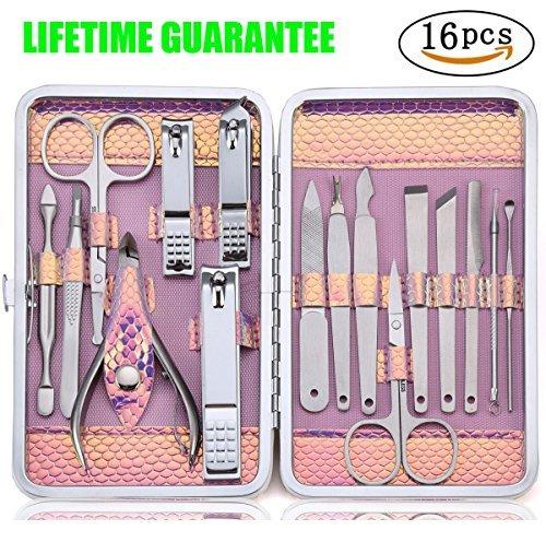 Tagliaunghie Set Professionale - Grooming Kit Strumenti per Manicure e Pedicure 16pcs con Box (rosa)