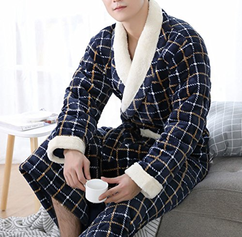 POKWAI Frauen Herbst Und Winter Neue Mode Warme Warme Plaid Pyjamas Dreischichtige Gepolsterte Baumwolle Hause Service Robe,Black-XXXL (Robe Flanell Plaid)