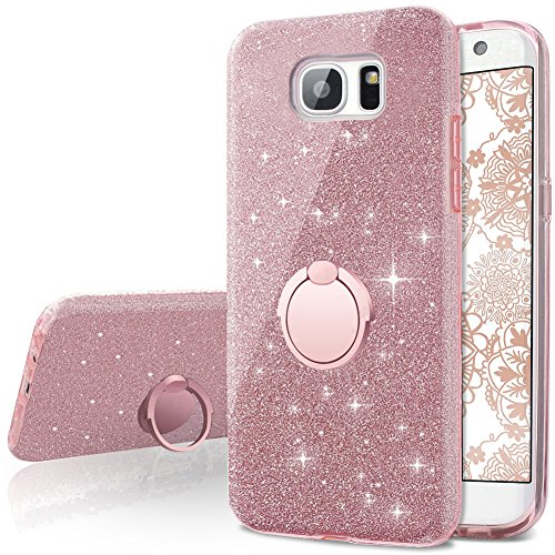 Coque Galaxy S7 Edge, Miss Arts Coque Silicone Paillette Strass Brillante Bling Glitter de Luxe avec support, Bumper Housse Etui de Protection pour Samsung Galaxy S7 Edge -Glamour Or Rose