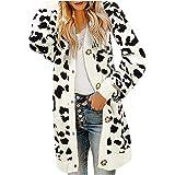 Cardigan Maglione Donna Leopardato Felpa Pullover Eleganti Casual Tinta Unita Giacca Moda per Autunno e Inverno Ragazza Cappo