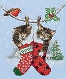 Anchor Stickbild, Motiv Kätzchen zu Weihnachten, Kreuzstich, ausgewählte Stoffe und Farben