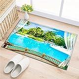 LB Badezimmer Teppiche rutschfeste saugfähige Badematten weichen Duschvorleger (60 * 40 cm) Pool,Palmen Balkon